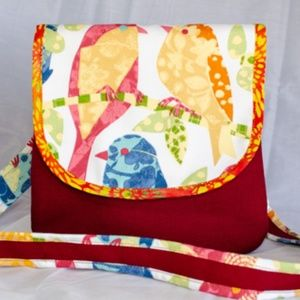 Finches In Red Cross Body Hand Sewn Bag